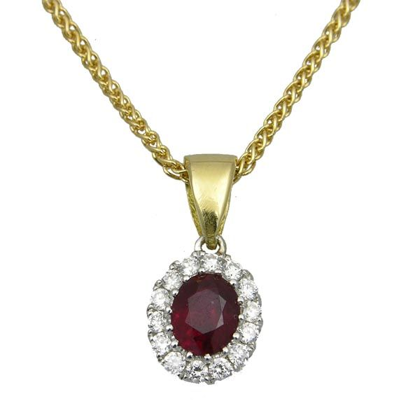 18ct gold oval ruby & diamond cluster pendant on Sally Thornton Jewellery blog from Thorntons Jewellers Kettering Northampton