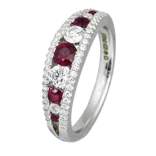 18ct white gold graduated ruby & diamond channel set ring on Sally Thornton Jewellery blog from Thorntons Jewellers Kettering Northampton