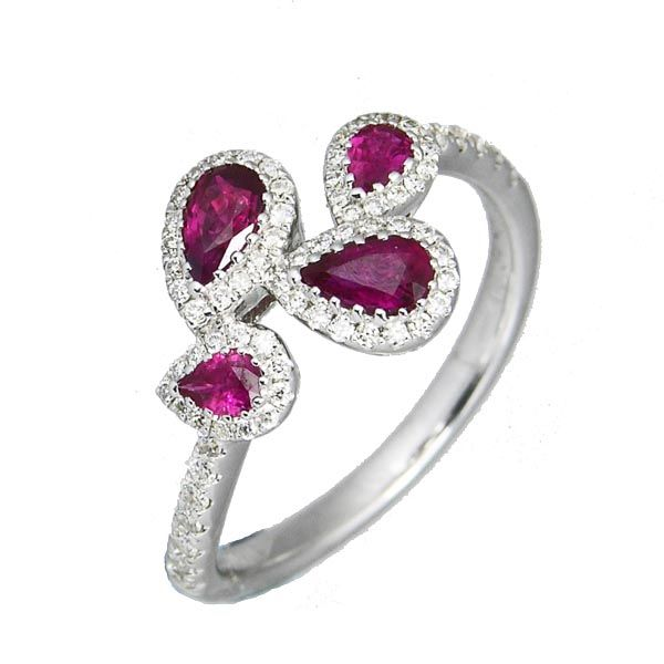18ct white gold pear shaped ruby & diamond cluster ring £1,625 on Sally Thornton Jewellery blog from Thorntons Jewellers Kettering Northampton