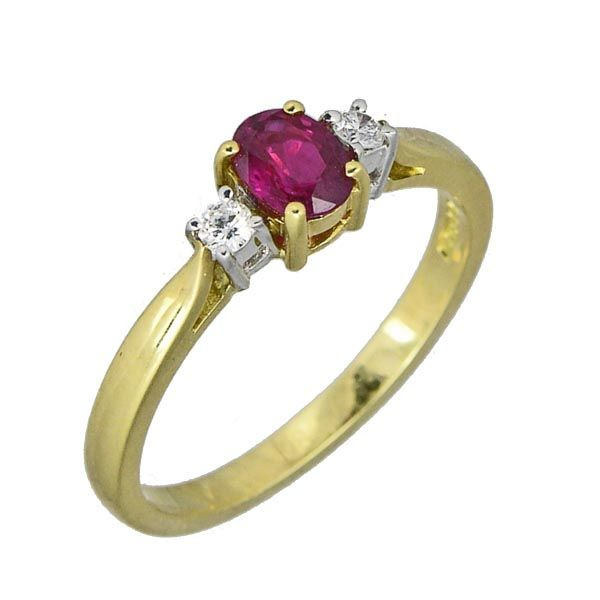 18ct yellow gold 3 stone ruby & diamond ring £950 on Sally Thorntons Jewellery blog from AA Thornton Jeweller Kettering Northampton