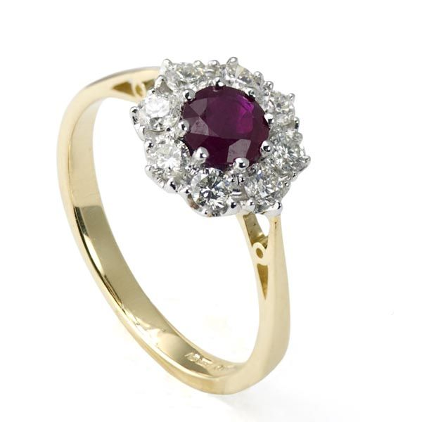 18ct yellow gold ruby & diamond cluster ring £1,995 on Sally Thornton Jewellery blog from Thorntons Jewellers Kettering