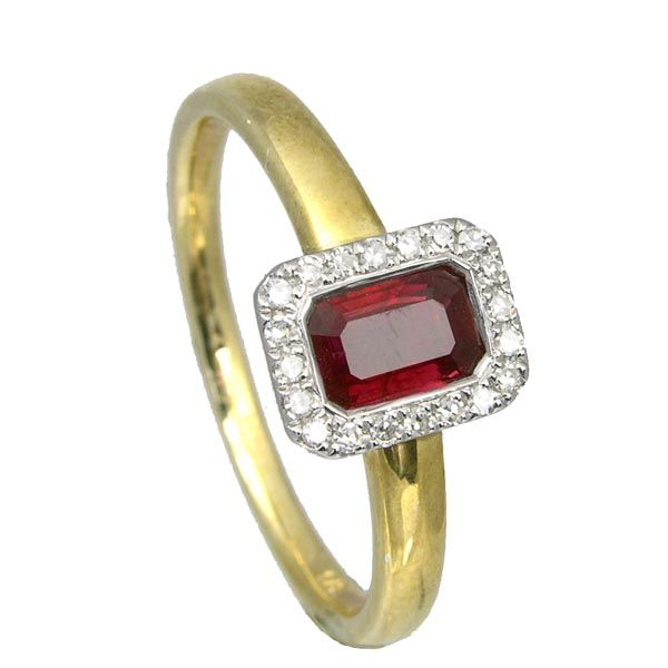9ct yellow gold emerald cut ruby & diamond cluster ring £650 on Sally Thornton Jewellery blog fro Thorntons Jewellers Kettering Northampton