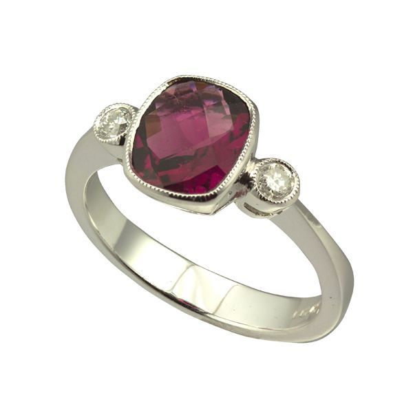 9ct white gold 3 stone pink tourmaline and diamond ring from AA Thornton Kettering Northampton