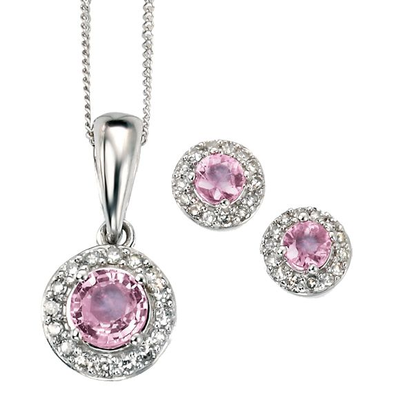 9ct white gold pink sapphire and diamond cluster pendant and earrings from AA Thornton Kettering