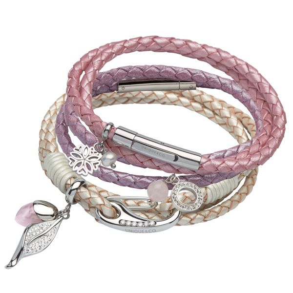 Leather bracelets some with pink rose quartz charm from AA Thornton Kettering Northampton