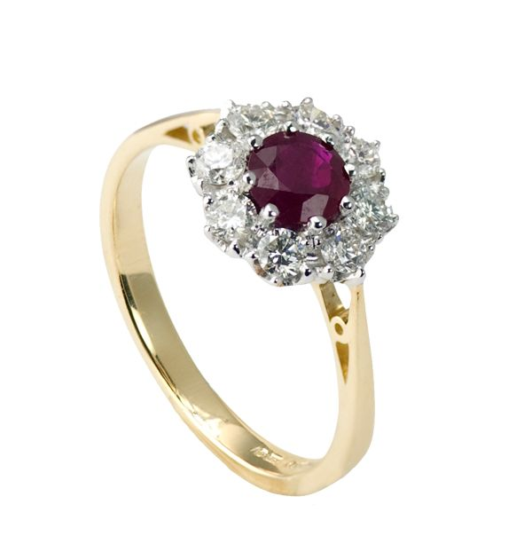 18ct yellow gold ruby & diamond cluster ring from AA Thornton Kettering  Northampton