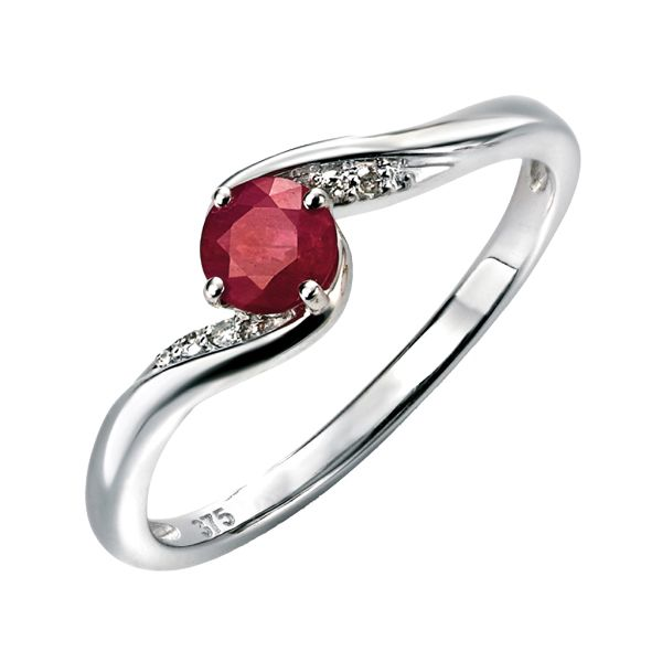 9ct white gold ruby & diamond crossover ring from AA Thornton Kettering
