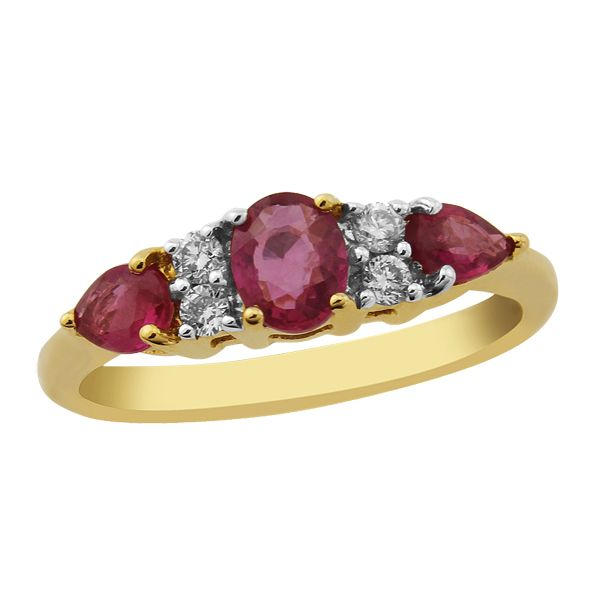 9ct yellow gold 7 stone ruby and diamond ring from AA Thornton Kettering Northampton