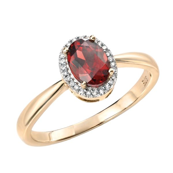 9ct yellow gold garnet & diamond cluster ring from AA Thornton Kettering Northampton
