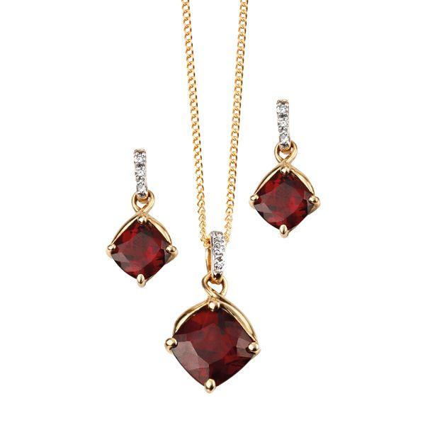 9ct yellow gold garnet & diamond drop earrings & pendant from AA Thornton Kettering Northampton Stamford
