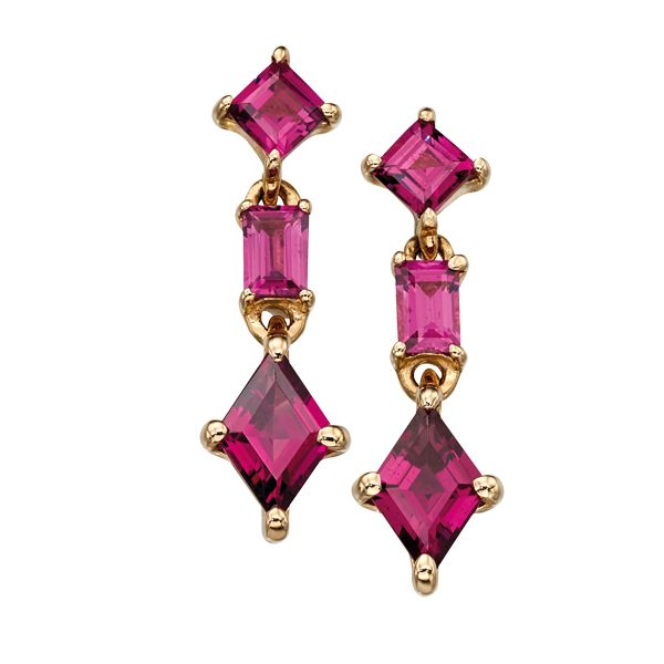 9ct yellow gold garnet drop earrings from AA Thornton Kettering Northampton