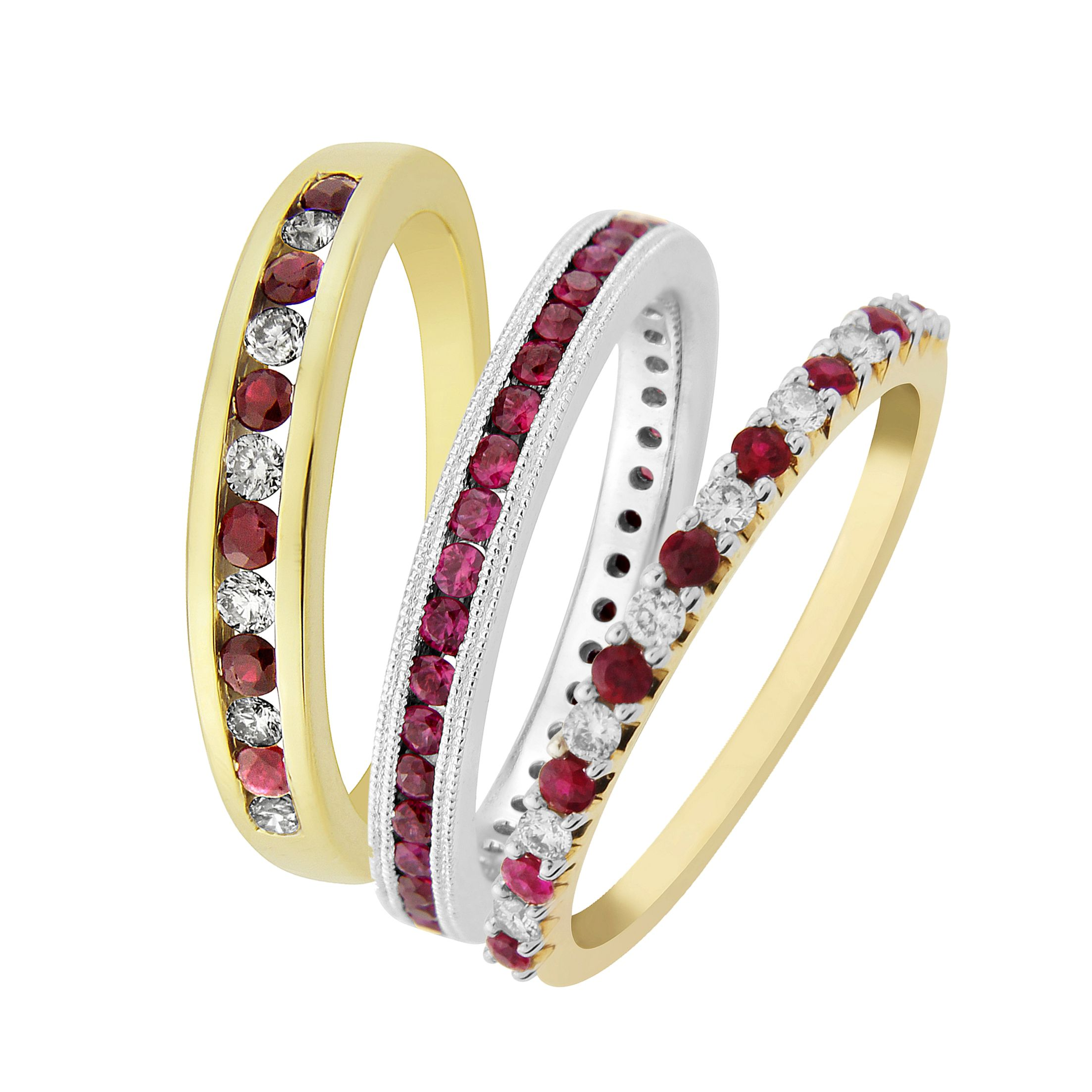 Ruby and diamond eternity rings from AA Thornton Kettering Northampton