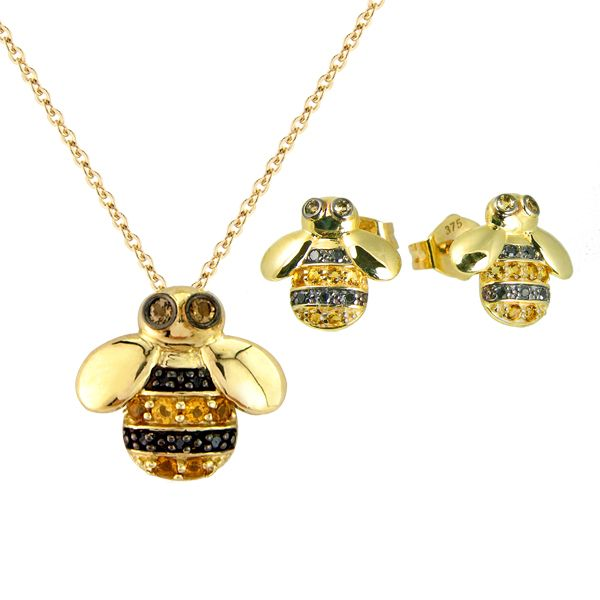 9ct yellow gold black diamond and citrine bumblebee pendant and earrings from AA Thornton Kettering Northampton