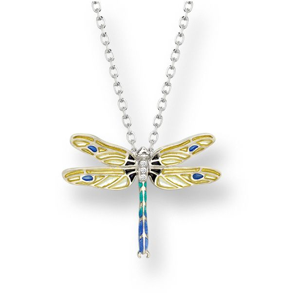 Reproduction of an antique enamelled silver & yellow dragonfly necklet set with white sapphires from AA Thornton Kettering Northampton