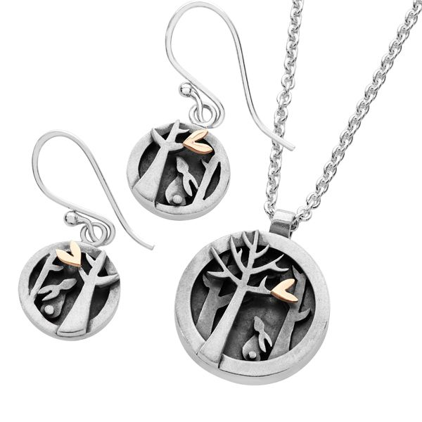 Silver & 9ct gold Woodlands earrings and pendant from AA Thornton Kettering Northampton