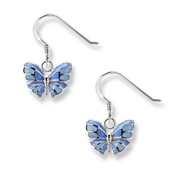 Silver blue enamel butterfly drop earrings from AA Thornton Kettering Northampton
