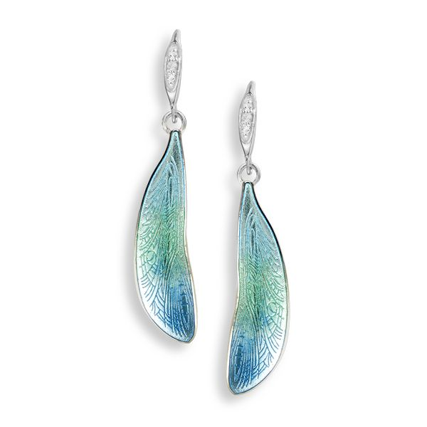 Silver blue enamel dragonfly wing earrings with white sapphires from AA Thornton Kettering Northampton