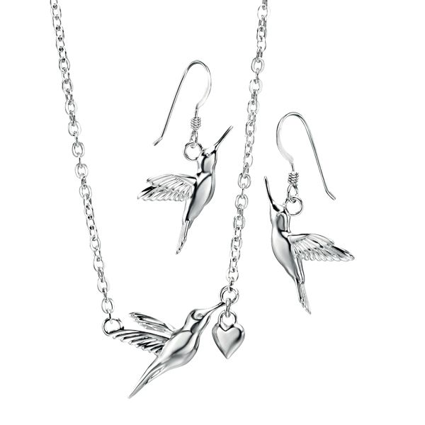 Silver hummingbird pendant and drop earrings from AA Thornton Kettering Northampton