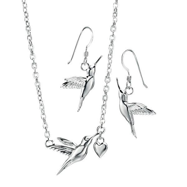 Silver hummingbird pendant and drop earrings from AA Thornton Kettering Northampton