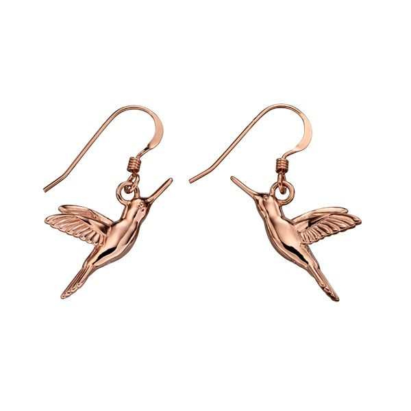 Silver & rose gold plated humming bird earrings from AA Thornton Kettering Northampton