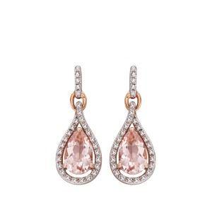 aa thornton 9ct rose gold morganite & diamond pear shaped drop earrings