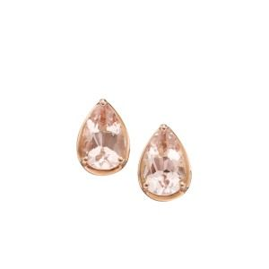 aa thornton 9ct rose gold morganite pear shaped stud earrings