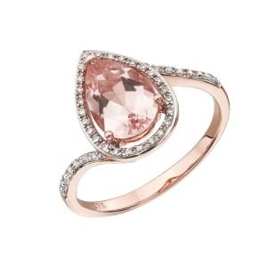 aa thornton 9ct rose gold pear shaped morganite & diamond cluster ring