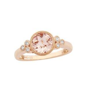 aa thornton 9ct rose gold round morganite & diamond ring with miligrain edge