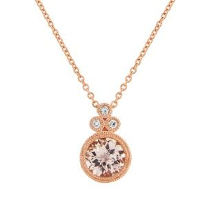 aa thornotn 9ct rose gold round morganite with trefoil diamond pendant on a chain
