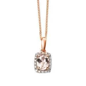 aa thornton 9ct rose gold morganite & diamond cluster pendant on a chain