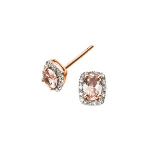 aa thornton 9ct rose gold morganite & diamond cluster stud earrings