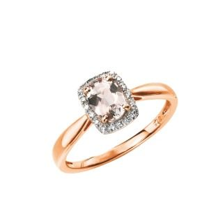 aa thornotn 9ct rose gold morganite & diamond cluster ring