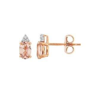 aa thornton 9ct rose gold & oval morganite with trefoil diamond stud earring