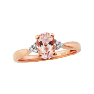 aa thornton 9ct rose gold morganite with trefoil diamond ring