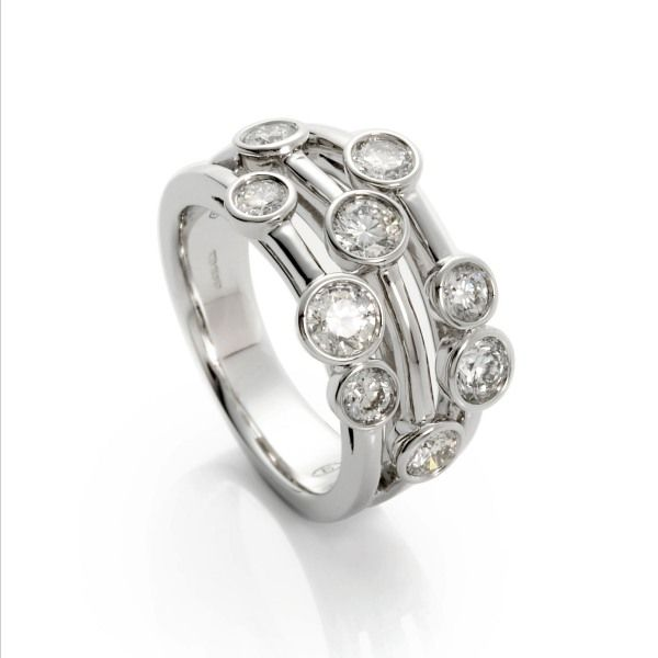 18ct White Gold 3 row diamond bubble ring 1.29ct  from AA Thornton Jeweller Kettering