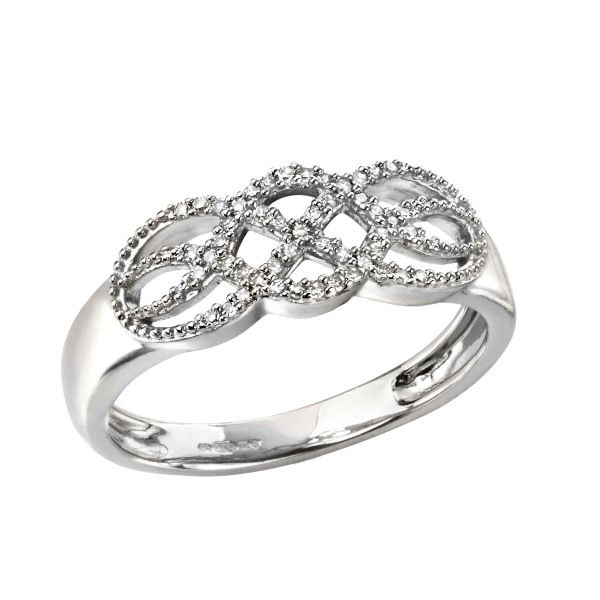 Pre loved 9ct white gold diamond open weave ring £325 from AA Thornton Kettering