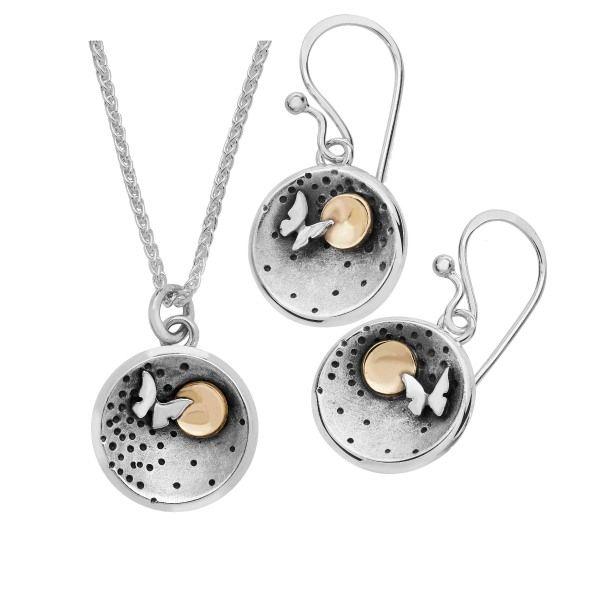 Silver 9ct gold Butterfly Moon earrings pendant