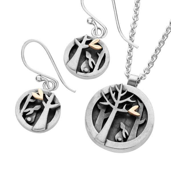 Silver & 9ct gold Woodlands earrings and pendant