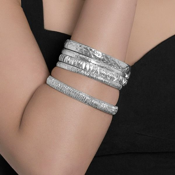 John Garland Taylor Silver bangles ideal for layering from AA Thornton Kettering Northampton