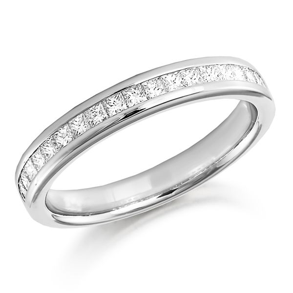 18ct White gold princess cut diamond half eternity ring from AA Thornton Kettering Northants Northamptonshire