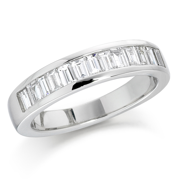 18ct white gold baguette cut diamond half eternity ring AA Thornton Kettering Northants Diamond Band Silver