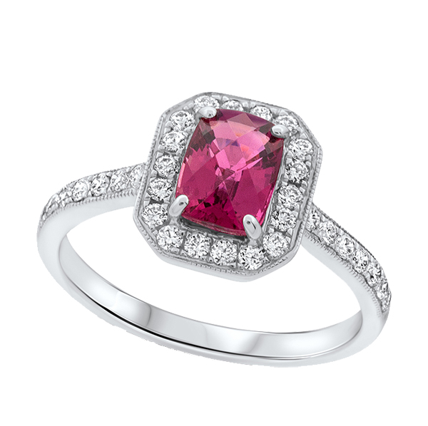 18ct white gold rubelite and diamond cluster ring from from AA Thornton Kettering Northampton