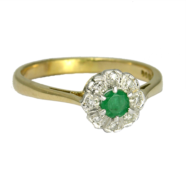 Pre loved18ct emerald & diamond cluster ring £495 our ref 95234 from AA Thornton Kettering