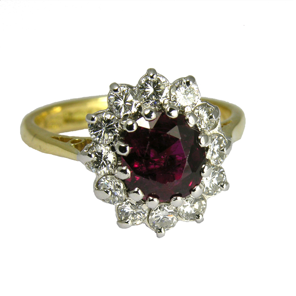 Pre loved second hand ruby & diamond cluster ring from AA Thornton Kettering