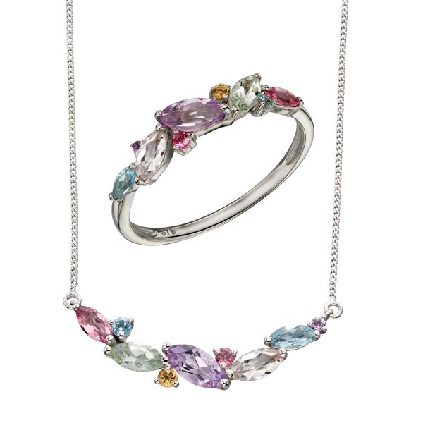 9ct white gold set with pink tourmaline, sky blue topaz, citrine, amethyst, rose de France amethyst, green amethyst, morganite  necklace & ring from AA Thornton Kettering