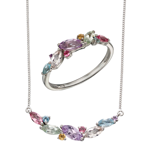 9ct white gold set with pink tourmaline, sky blue topaz, citrine, amethyst, rose de France amethyst, green amethyst, morganite ring & necklace from AA Thornton Kettering Northampton