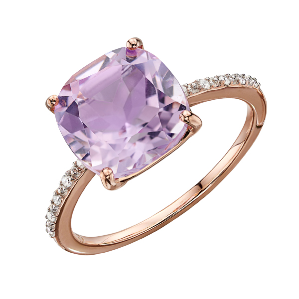 9ct rose gold Rose de France amethyst and diamond ring from AA Thornton Kettering Northampton Stamford Dress Ring