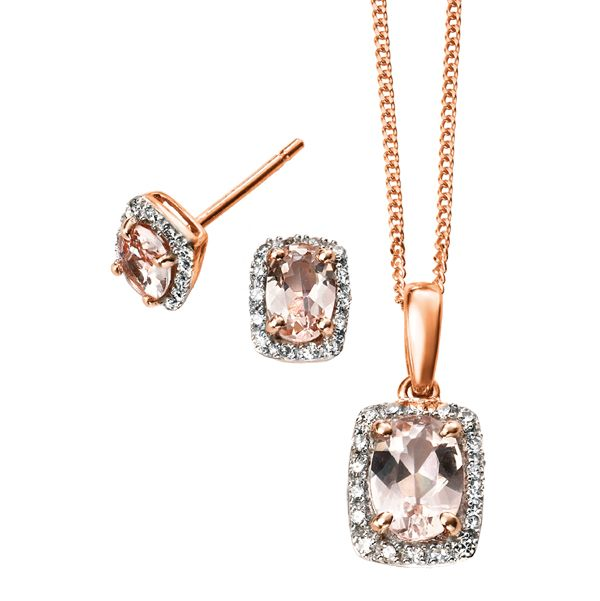 9ct rose gold morganite and diamond cluster pendant stud earrings from AA Thornton Kettering Northampton