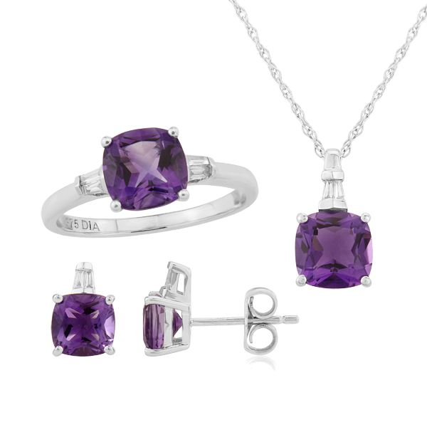 9ct white gold amethyst and diamond ring, necklace & earrings from AA Thornton Kettering Northamptonshire