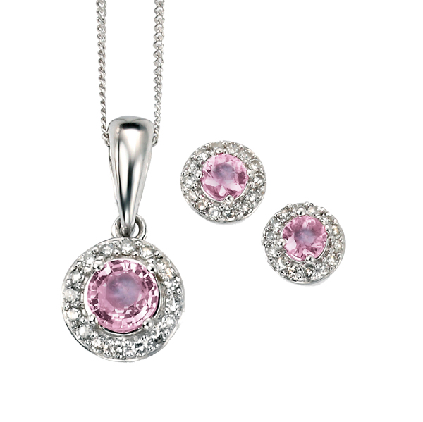 9ct white gold pink sapphire and diamond cluster pendant and earrings from AA Thornton Kettering Northampton.